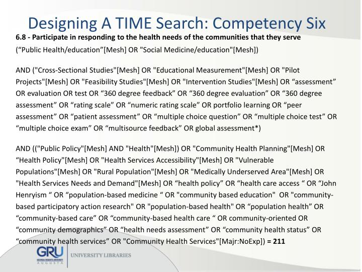 Designing A TIME Search: Competency Six