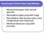 keuntungan sistem pakar bagi manajer