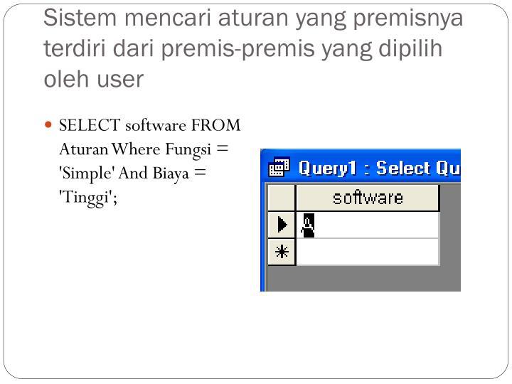 Sistem mencari aturan yang premisnya terdiri dari premis-premis yang dipilih oleh user