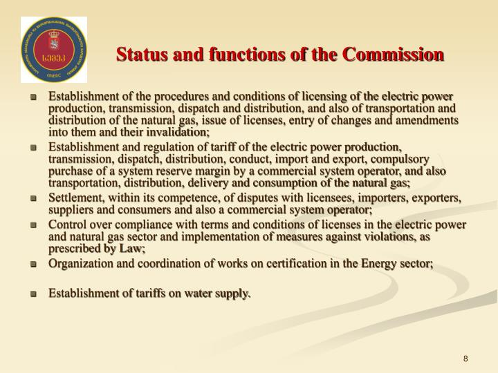 Status and functions of the Commission