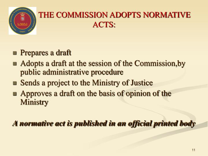 THE COMMISSION ADOPTS NORMATIVE ACTS: