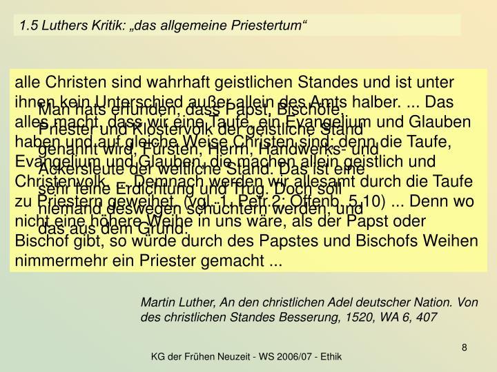 """1.5 Luthers Kritik: """"das allgemeine Priestertum"""""""