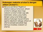 hubungan makarim al shari a dengan ahkam al shari a