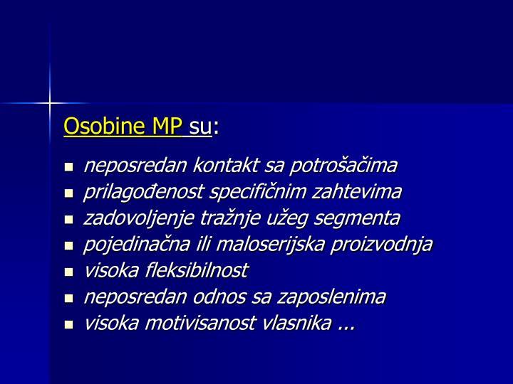 Osobine MP