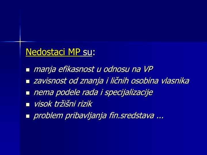 Nedostaci MP