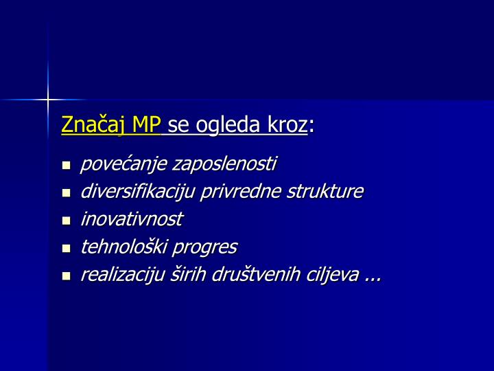 Značaj MP