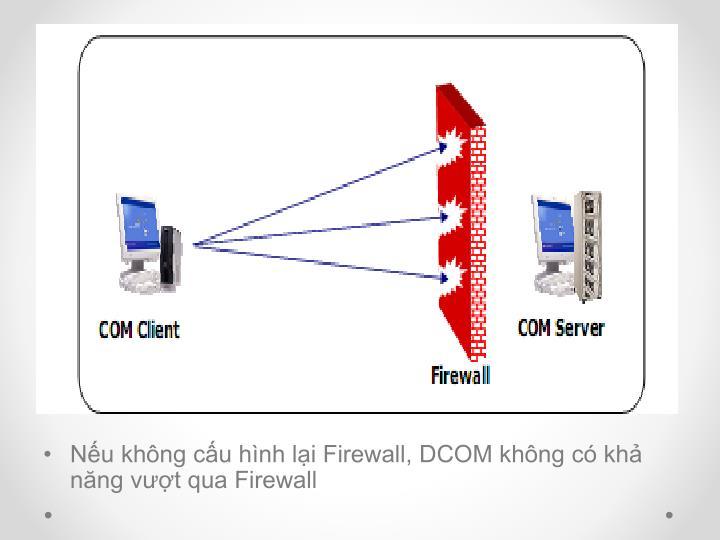 Nếu không cấu hình lại Firewall, DCOM không có khả năng vượt qua Firewall