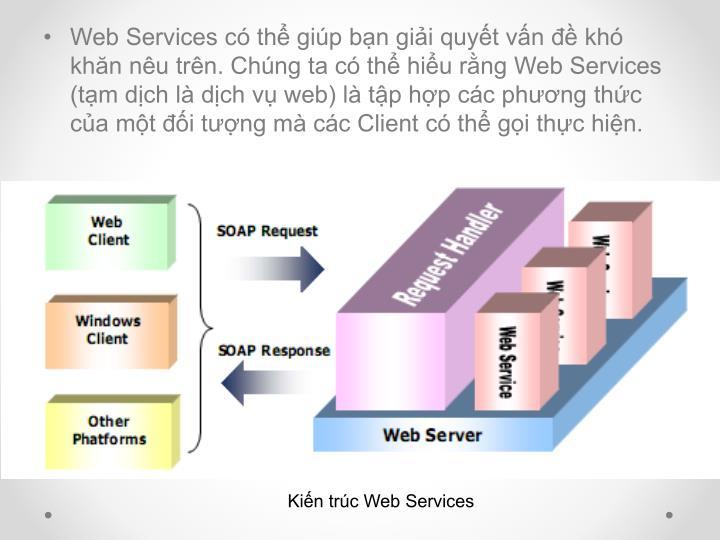 Web Services có thể giúp bạn giải quyết vấn đề khó khăn nêu trên. Chúng ta có thể hiểu rằng Web Services (tạm dịch là dịch vụ web) là tập hợp các phương thức của một đối tượng mà các Client có thể gọi thực hiện.