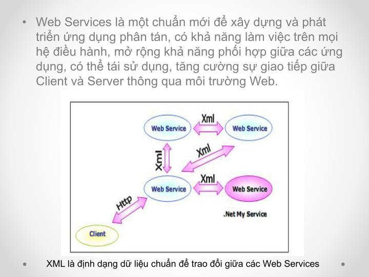 Web Services là một chuẩn mới để xây dựng và phát triển ứng dụng phân tán, có khả năng làm việc trên mọi hệ điều hành, mở rộng khả năng phối hợp giữa các ứng dụng, có thể tái sử dụng, tăng cường sự giao tiếp giữa Client và Server thông qua môi trường Web.