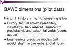 bawe dimensions pilot data
