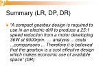 summary lr dp dr