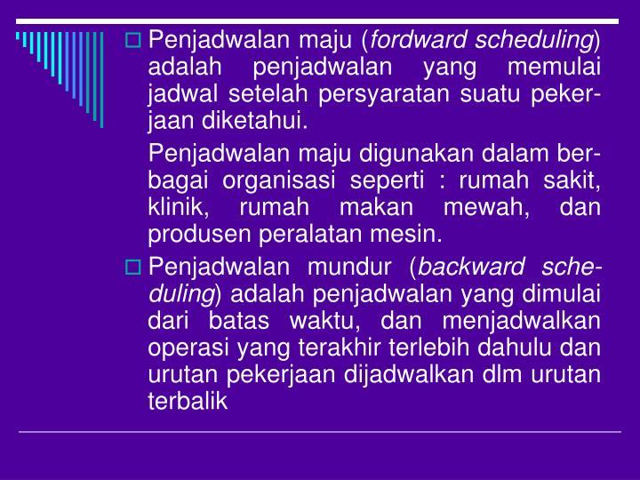 Penjadwalan maju (