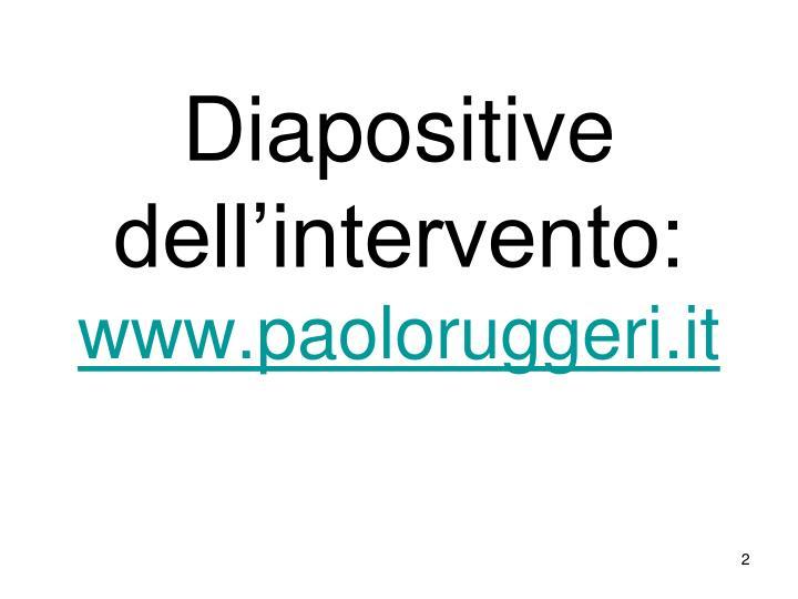 Diapositive dell intervento www paoloruggeri it