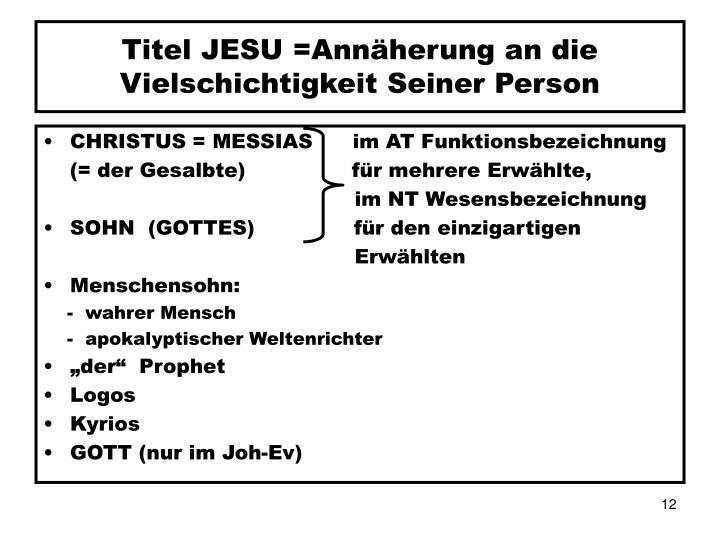 Titel JESU =Annäherung an die
