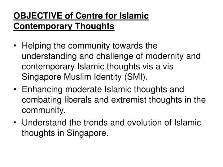 Objective of centre for islamic contemporary thoughts