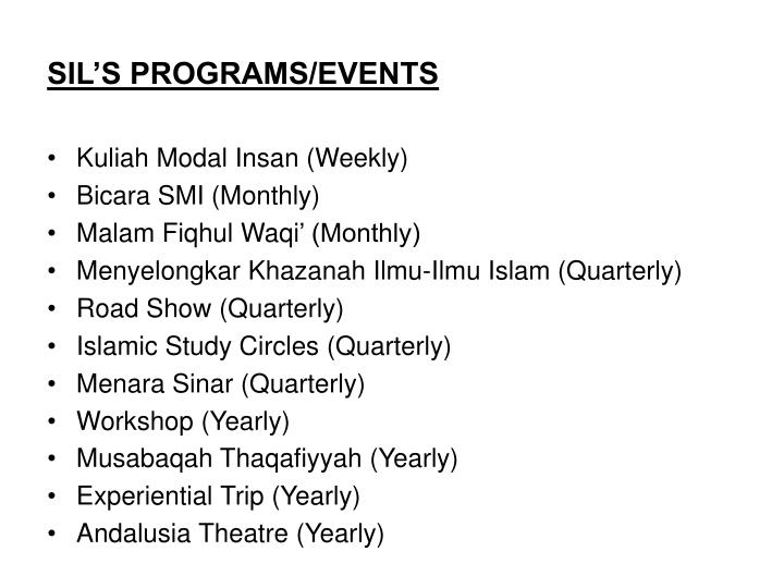 SIL'S PROGRAMS/EVENTS
