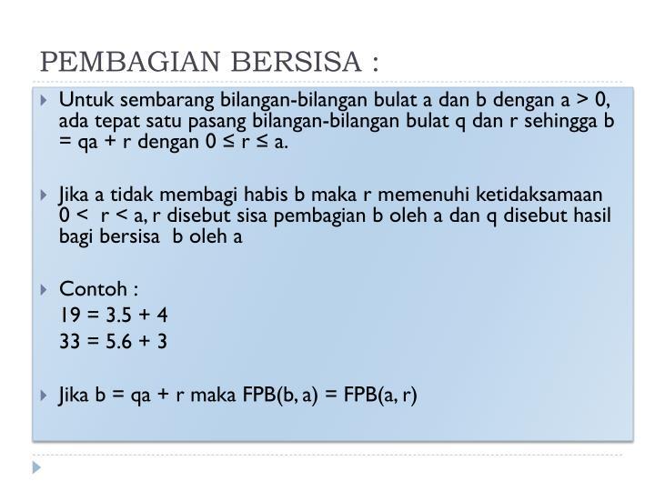 PEMBAGIAN BERSISA :