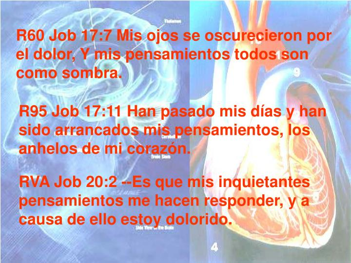 R60 Job 17:7 Mis ojos se oscurecieron por el dolor, Y mis pensamientos todos son como sombra.