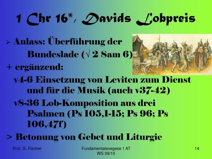 1 Chr 16*, Davids Lobpreis