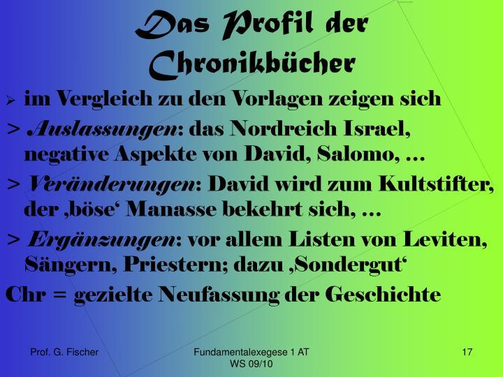 Das Profil der Chronikbücher