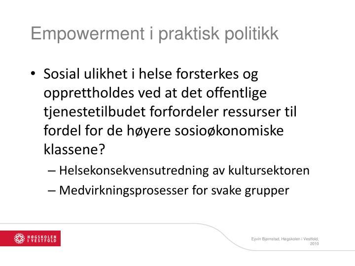 Empowerment i praktisk politikk