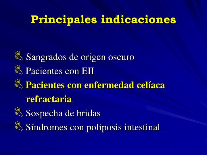 Principales indicaciones