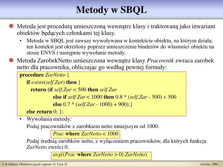 Metody w SBQL