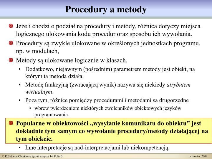 Procedury a metody