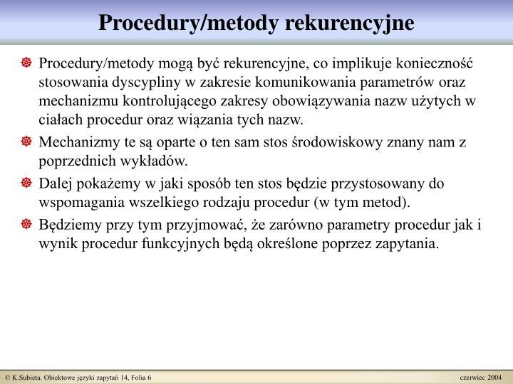 Procedury/metody rekurencyjne