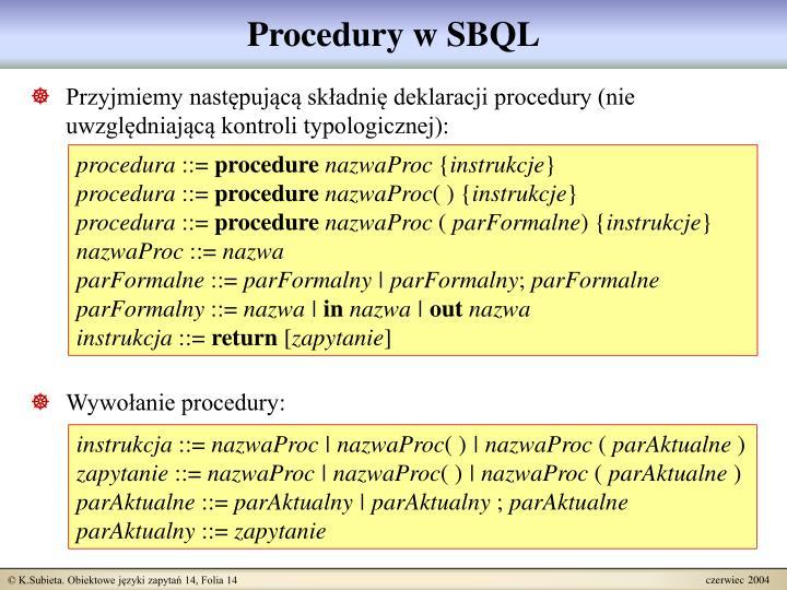 Procedury w SBQL