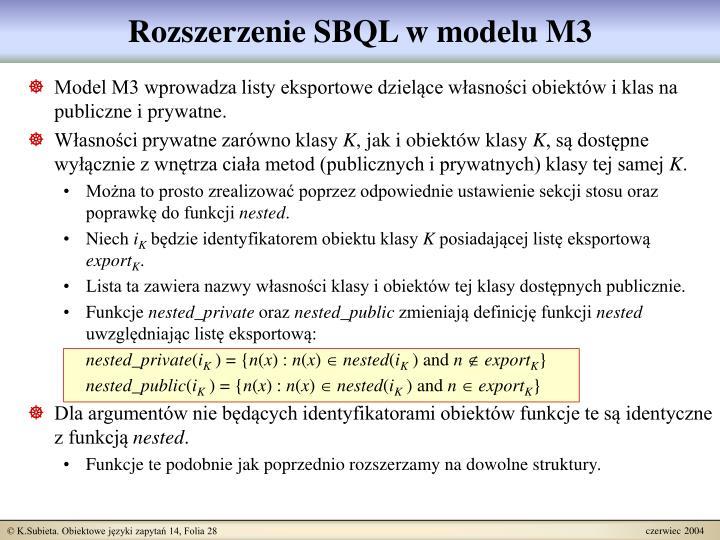 Rozszerzenie SBQL w modelu M3