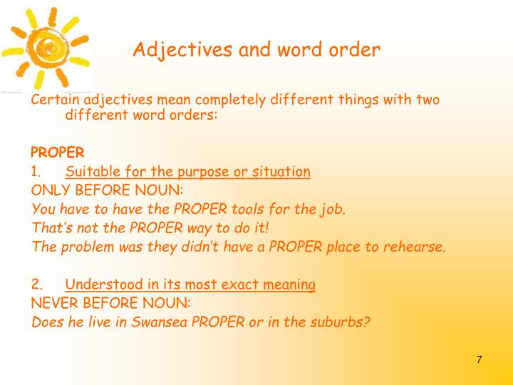 Adjectives and word order