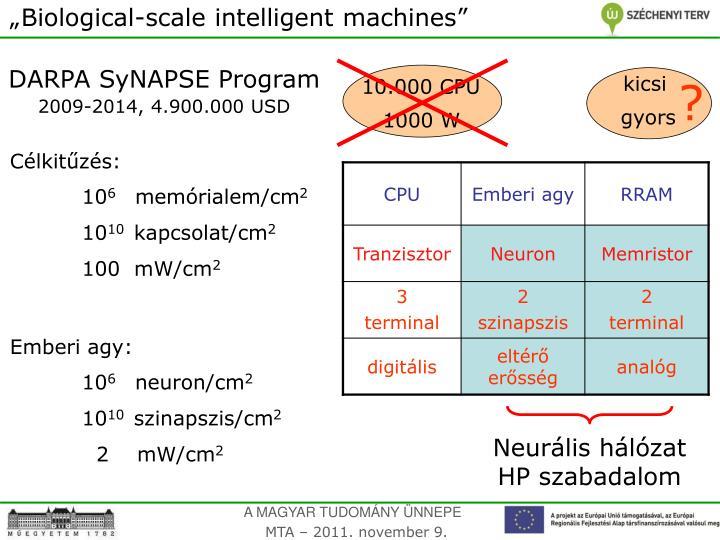 """Biological-scale intelligent machines"""