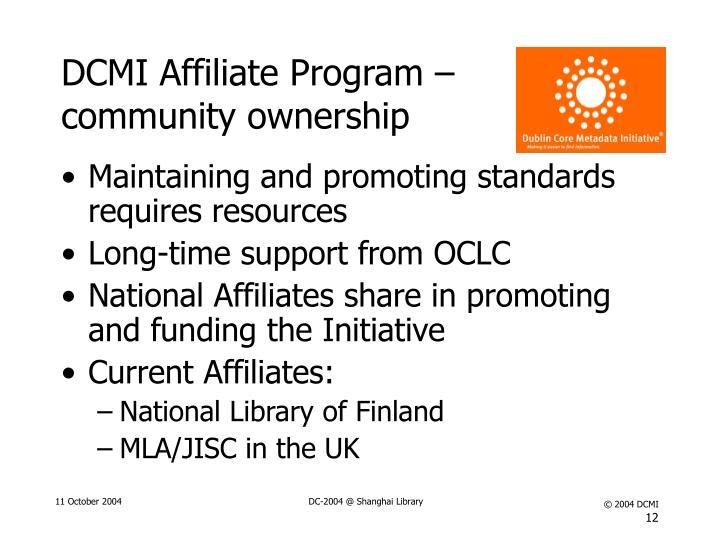 DCMI Affiliate Program – community ownership