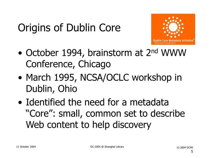 Origins of Dublin Core