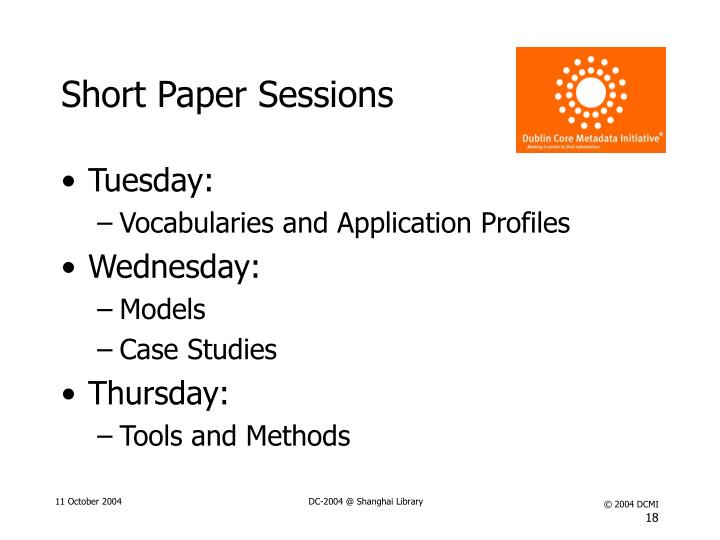 Short Paper Sessions