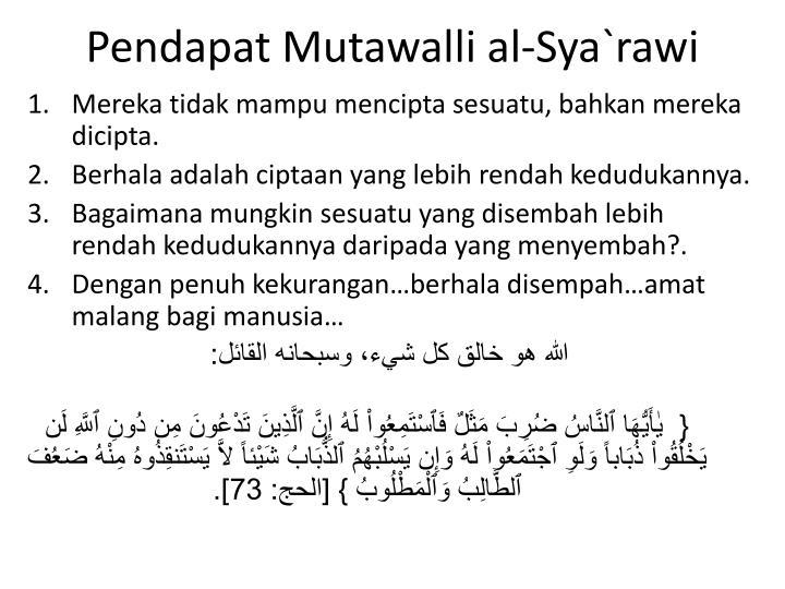 Pendapat Mutawalli al-Sya`rawi