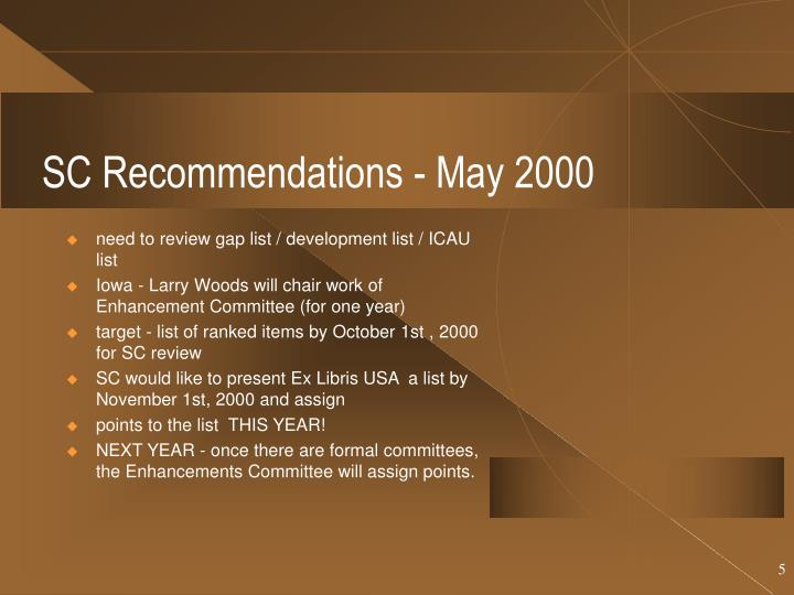 SC Recommendations - May 2000