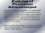 policies of president ahmadinejad
