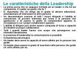 le caratteristiche della leadership