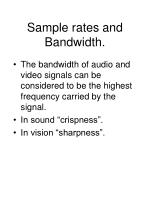 sample rates and bandwidth