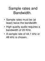 sample rates and bandwidth1