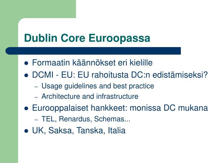Dublin Core Euroopassa