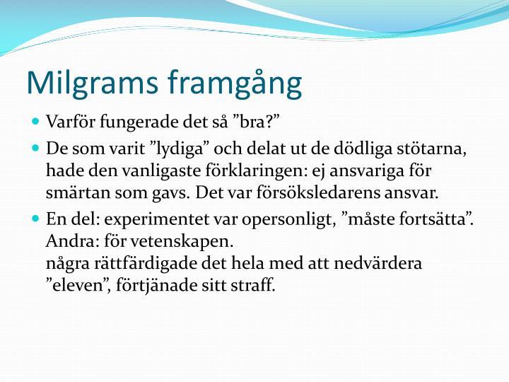 Milgrams framgång