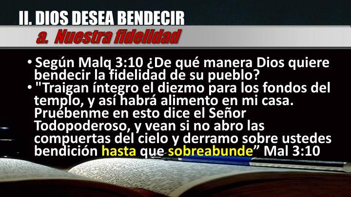 II. DIOS DESEA BENDECIR