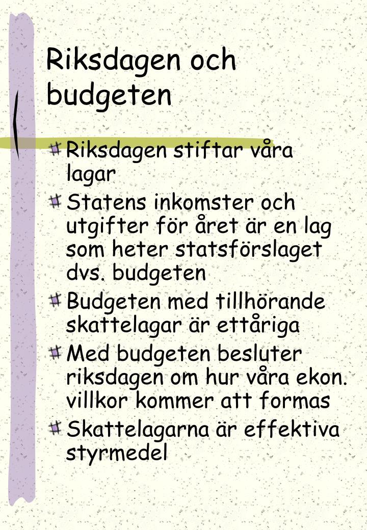 Riksdagen och budgeten