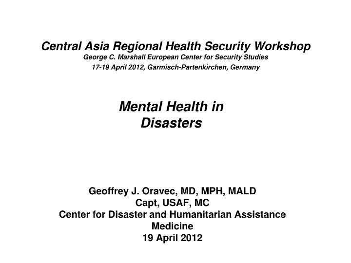 Central Asia Regional Health Security Workshop
