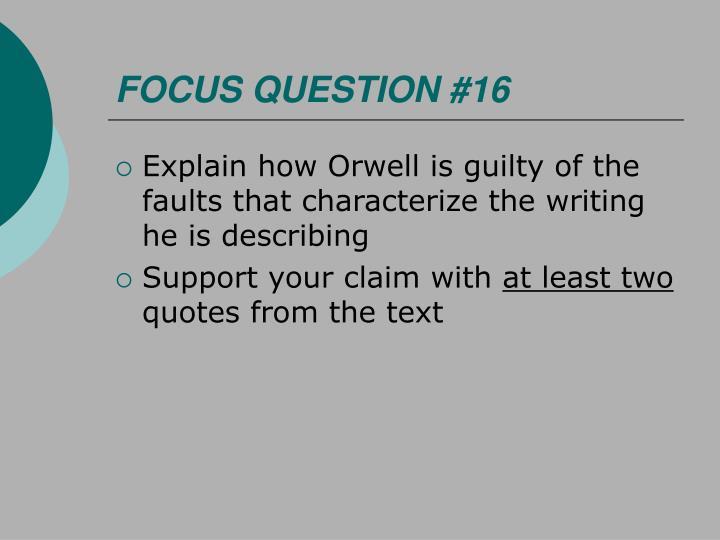FOCUS QUESTION #16