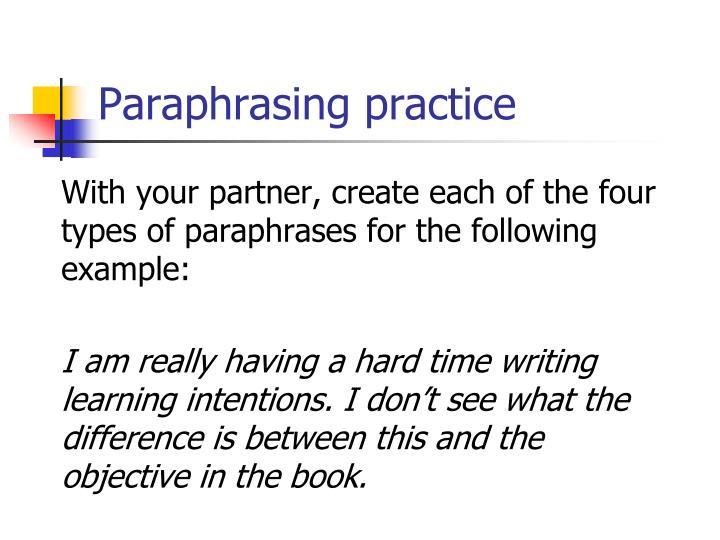 Paraphrasing practice