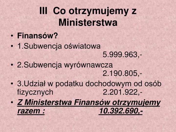 III  Co otrzymujemy z Ministerstwa